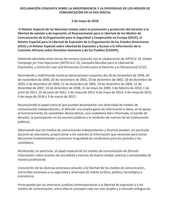 Declaración conjunta sobre independencia y diversidad de los medios de comunicación en la era digital
